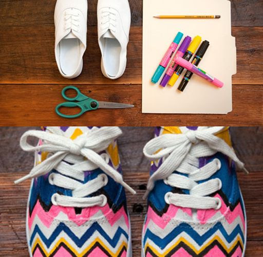 diy neon chevron shoe makeover from lilblueboo.com.