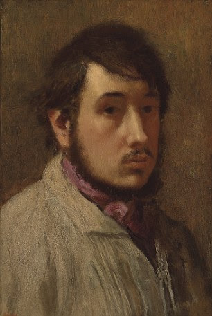 """Um Autoportrait de Edgar Degas, carimbados com """"Degas"""" a assinatura, pintado em 1857-1858"""