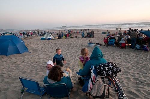 July 4, 2012 - Waiting for fireworks at Rockaway Beach, OR