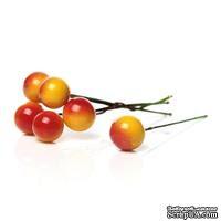 Ягодки круглые на ножке, желто-красные, 6.6 см х 12мм, 10шт. - ScrapUA.com