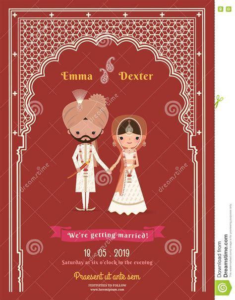 Indian Wedding Bride & Groom Cartoon Save The Date Card