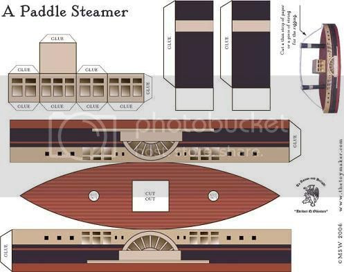 Paddle Steamer Paper Model For Kids - by The Toy Maker - Barco À
