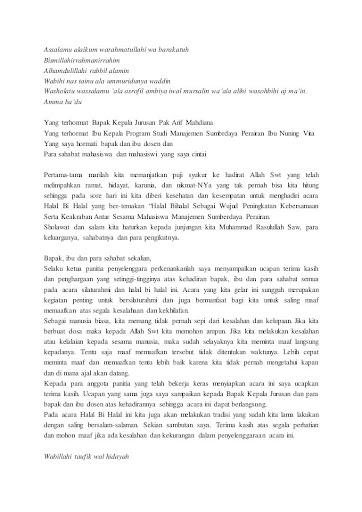 Contoh Pidato Sambutan Ketua Panitia Idul Adha