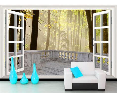 mural besar ruang tamu kamar tidur wallpaper pemandangan