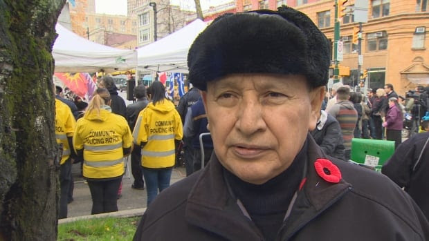 Union of BC Indian Chiefs Grand Chief Stewart Phillip at Victory Square