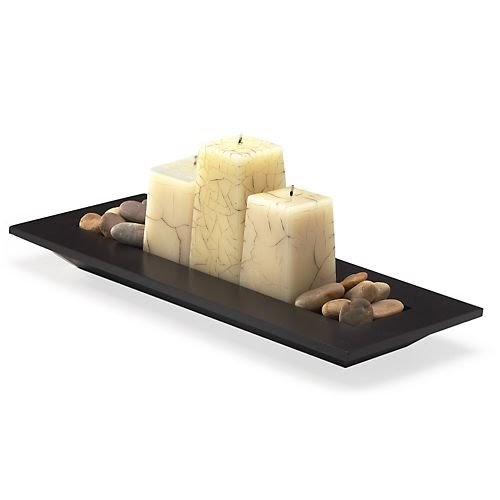 Candle holder pomeroy ashton rectangle candle holder tray for Long rectangular candle tray