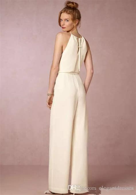 New 2018 Ivory Jumpsuit Bridesmaid Dresses For Wedding