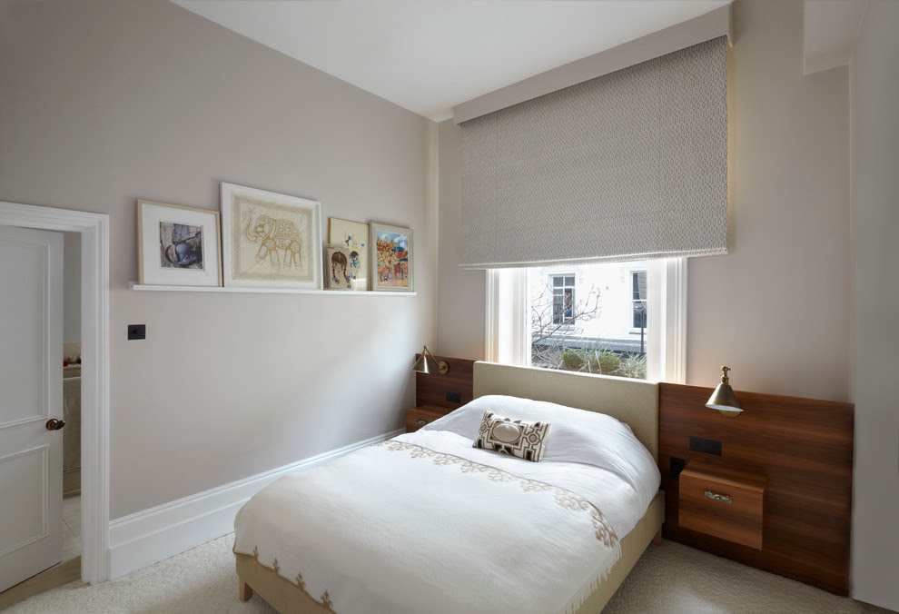 Beautiful Blackout Roman Shades In Bedroom Modern With