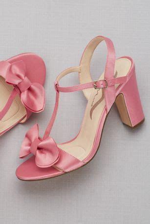 Satin T Strap Block Heel Sandals with Bow   David's Bridal