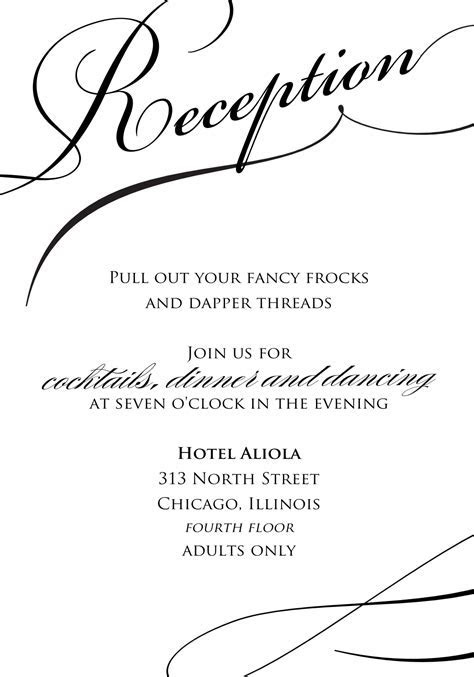 sample wedding reception invitations   Wedding Ideas and