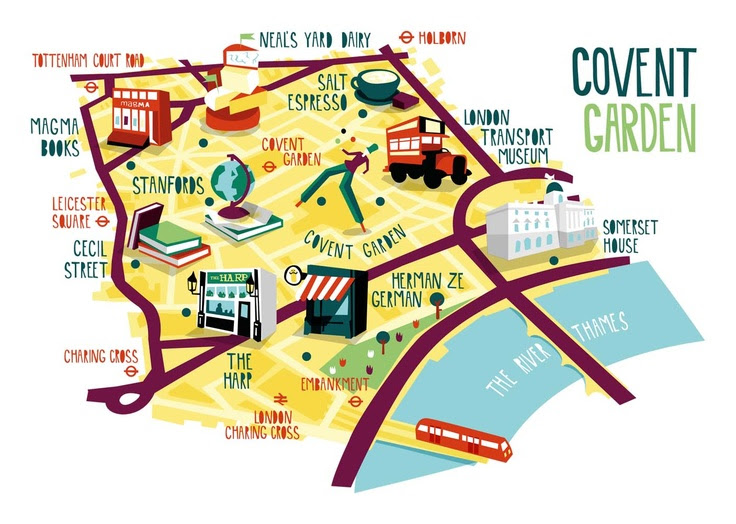 Covent Garden Map illustration  kerryhyndman.co.uk