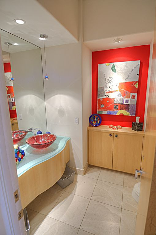 Modern Powder Room with Glass counters, Flush, Vessel sink, Pendant light, High ceiling, Lumirama - tulipina mini pendant