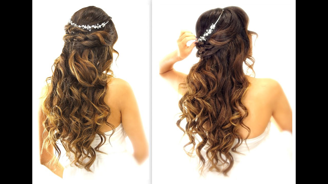 EASY Wedding Half Updo HAIRSTYLE  with CURLS Bridal