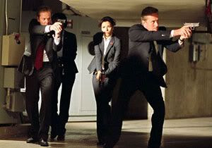 Kiefer Sutherland, Eva Longoria and Michael Douglas in 'The Sentinel'.