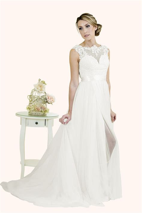 Evie   Stunning Lace Illusion Neckline Wedding Dress
