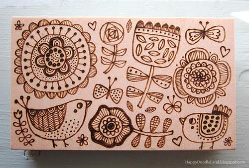 Wood Burnt Doodle 4X6 Block