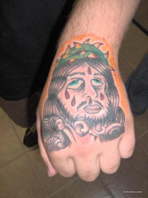 Color Jesus Head Hand Tattoo