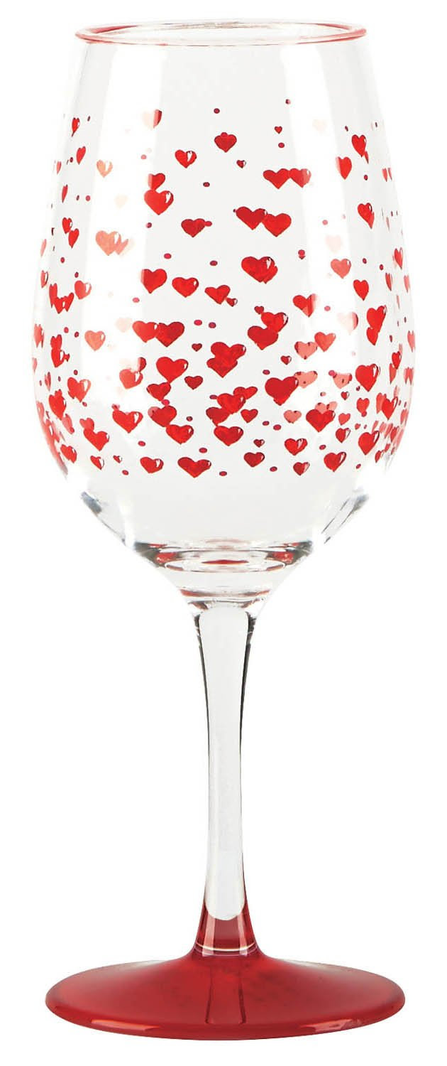 C.R. Gibson Lolita Drinkware Set of Two Red Hot Hearts Acrylic Wine Glasses