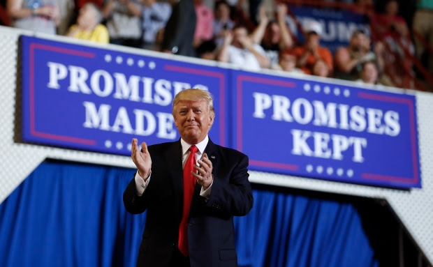 President Donald Trump arrives to speak at the Pennsylvania Farm Show Complex and Expo Center in Harrisburg, Pa., Saturday, April 29, 2017, on the 100th day of his presidency. (AP Photo/Carolyn Kaster)