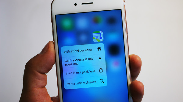 3D Touch su Apple iPhone 6s