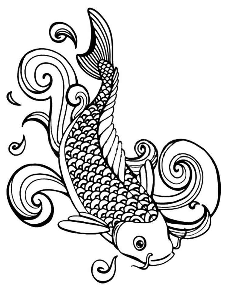 KOI Fish coloring pages for adults. Free Printable KOI Fish coloring pages.