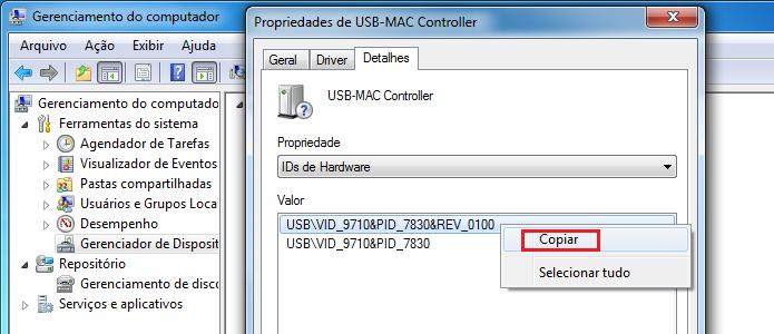 Copiando o ID do hardware (Foto: Reprodução/Edivaldo Brito)