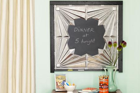 a tin-tile chalkboard