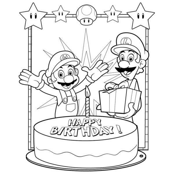 Disegno Di Super Mario Buon Compleanno Da Colorare Per Bambini