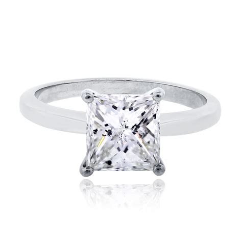 14k White Gold 1.69ct Princess Cut Diamond Engagement Ring