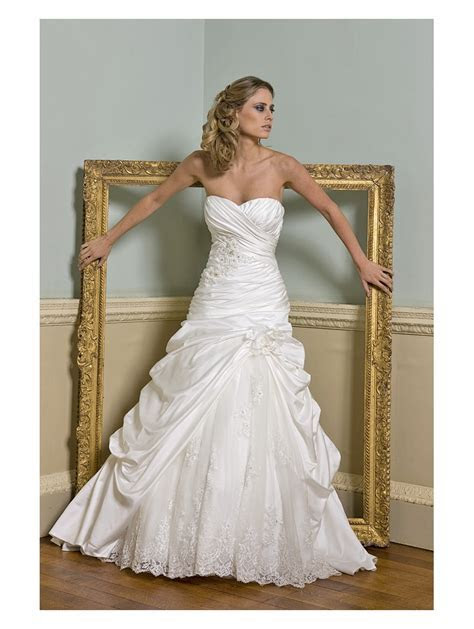 Oppulence Lotus Satin Wedding Dress Fitted to hip Ivory