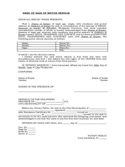 Deed of Sale of Motor Vehicle - Template