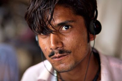 Man listening to music, Karachi