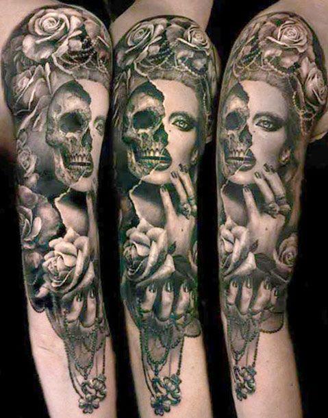 Half Skull Half Woman Tattoo By Ellen Westholm Tattoomagz