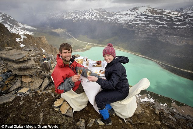 Rossel planned a mountaintop proposal to Shannon 9,000ft above Bow Lake in the Canadian Rockies