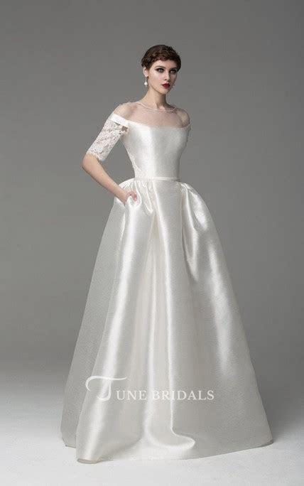 Off Shoulder Long A Line Satin Wedding Dress With Lace