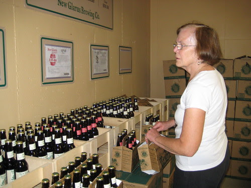 mom picking out beer, New Glarus brewery