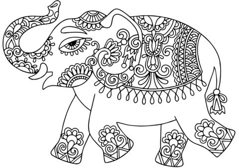 Dibujo De Elefante Con Patrón Indio Para Colorear Dibujos Para