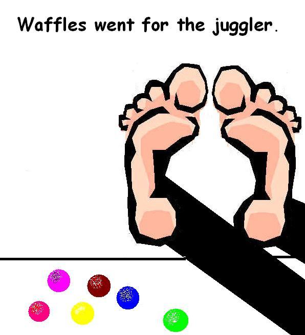 waffles went for the juggler