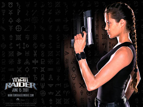 Tomb Raider movie poster with Angelina Jolie