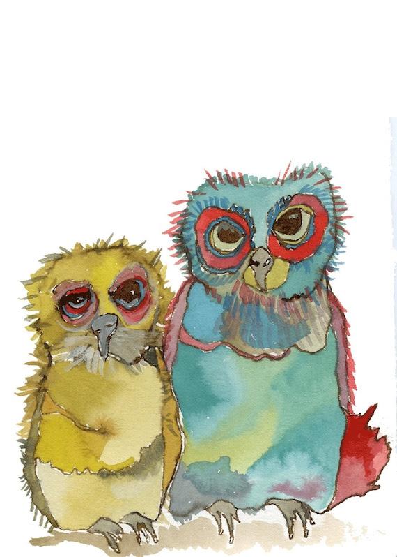 Owls, giclee print.