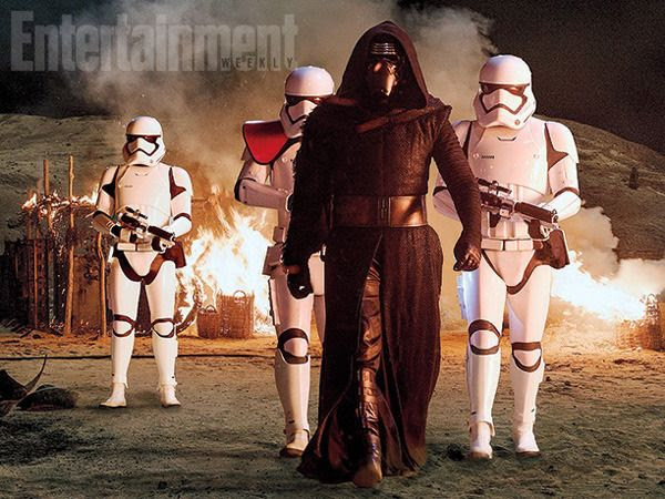 Flanked by First Order stormtroopers, Kylo Ren is out to seek a precious artifact on the planet Jakku in this production still for STAR WARS: THE FORCE AWAKENS.