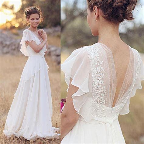 2015 Cheap Plus Size Chiffon Country Wedding Dresses V