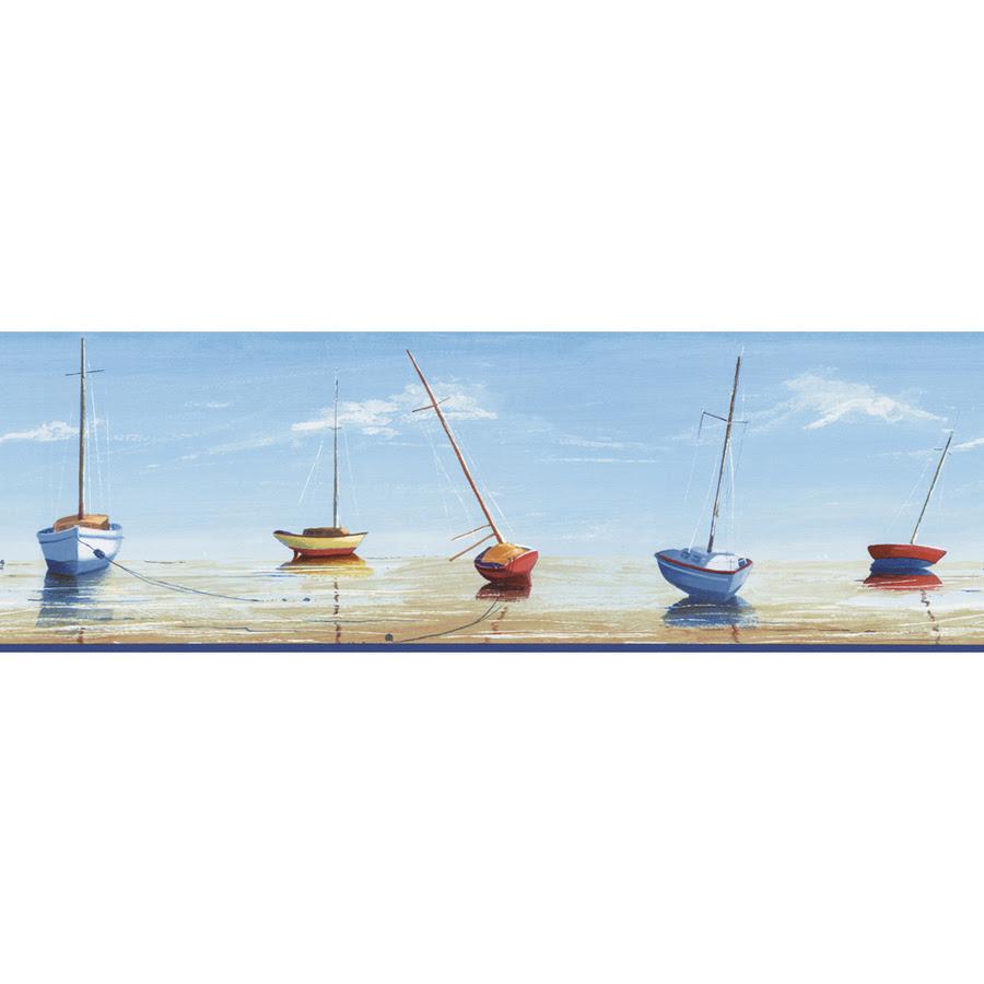 Shop allen   roth 67\/8\u0026quot; Blue Nautical Prepasted Wallpaper