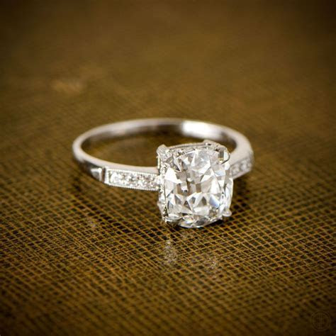 Cushion Cut Diamond Engagement Ring   Vintage Engagement