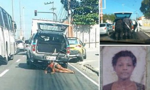 Horrifying moment woman's dying body is dragged behind police car after she was hit in cross fire during drugs gang gun battle'
