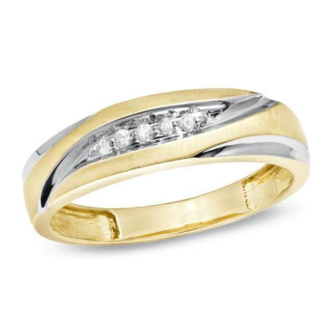 Men's Diamond Accent Wedding Band in 10K Gold   Wedding