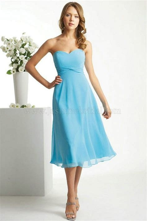 Sweetheart Tea Length Light Sky Blue Bridesmaid Dresses