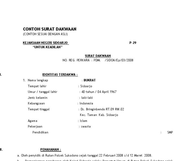 Contoh Surat Dakwaan Surat 29