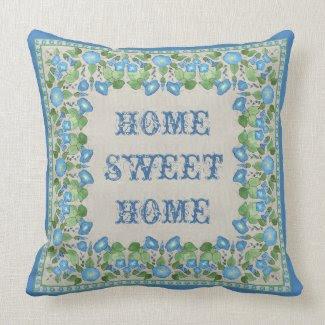 Nostalgic Blue Morning Glory Pillow or Cushion