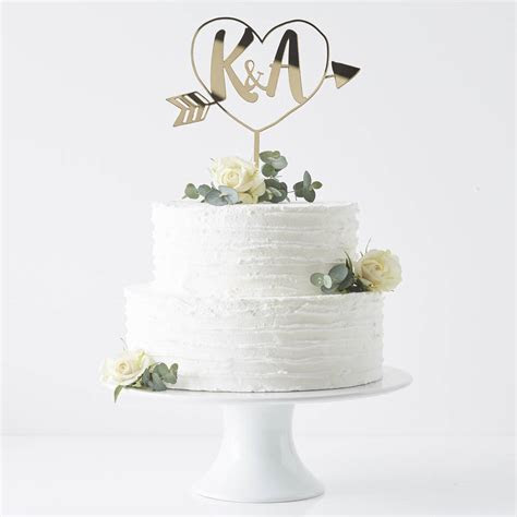 personalised initials arrow cake topper by sophia victoria